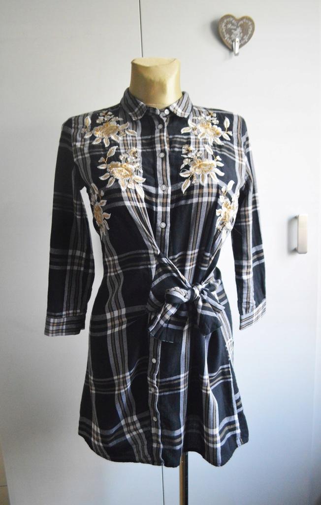 Reserved sukienka koszulowa XS/S szara kratka haft