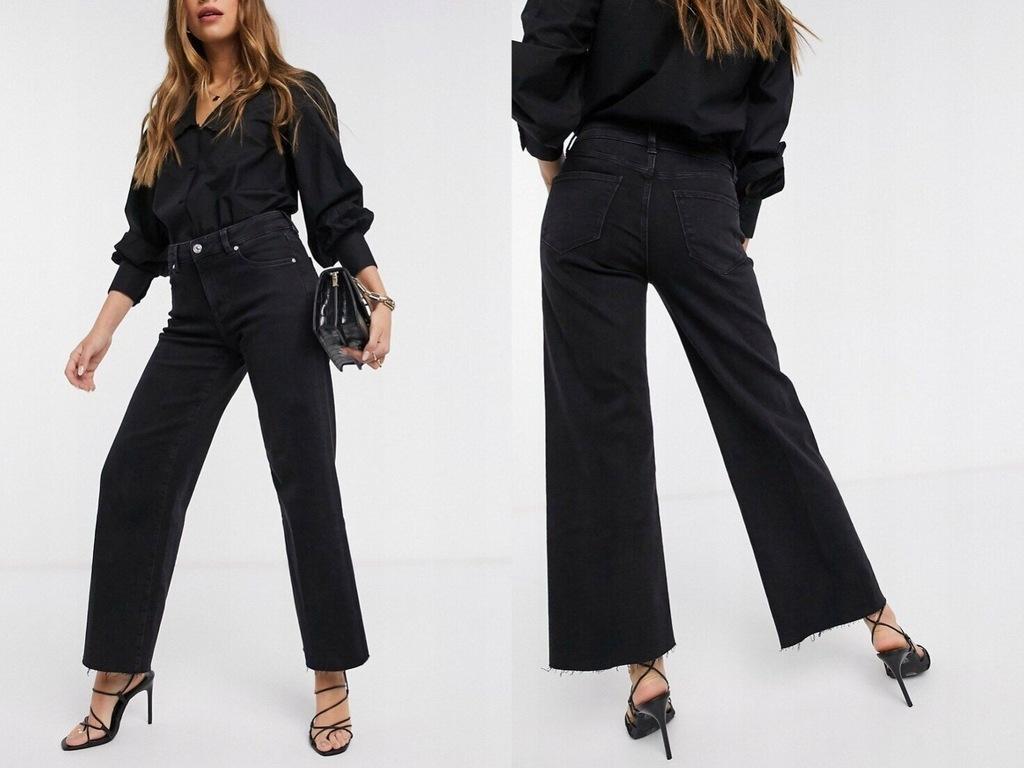 Mango Cropped Czarne jeansy szerokie 34