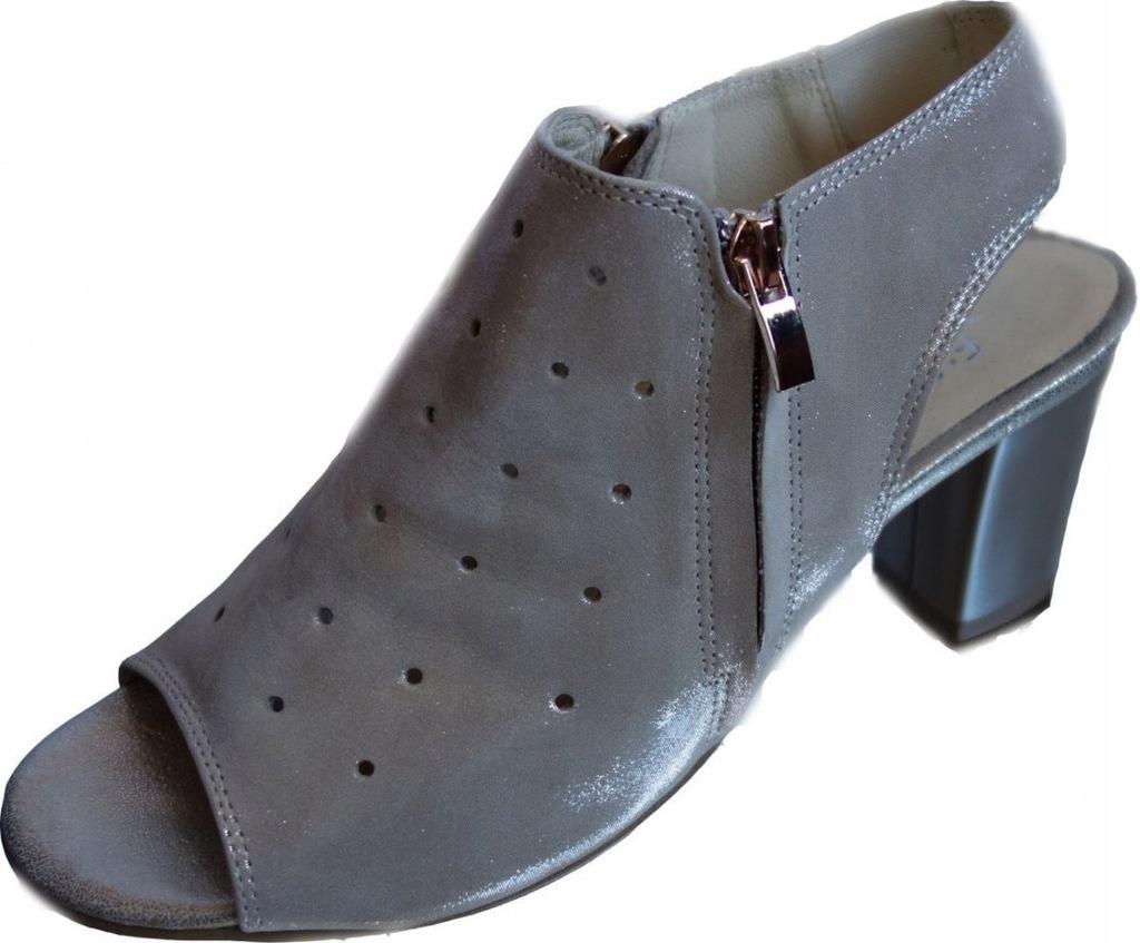 Skórzane sandałki FASHION obcas H ażur złoto 36