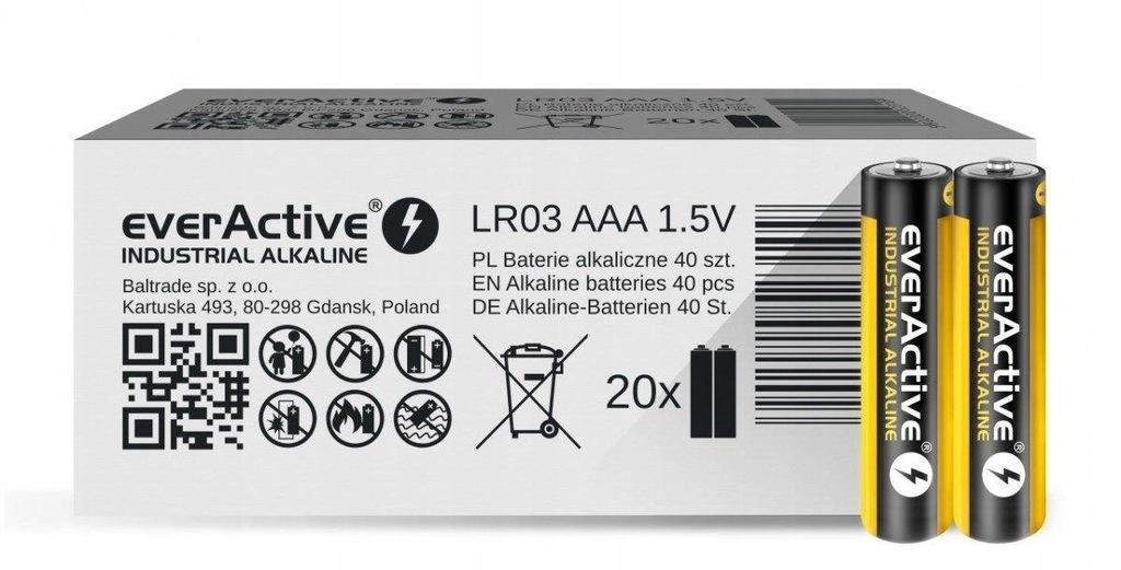 Baterie alkaliczne AAA/LR03 everActive Industrial