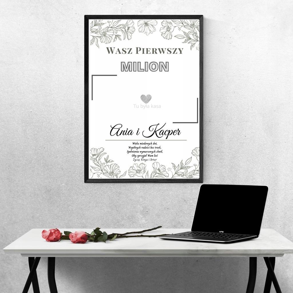 Pierwszy Milion Ślub Ramka-Spersonalizowany Plakat