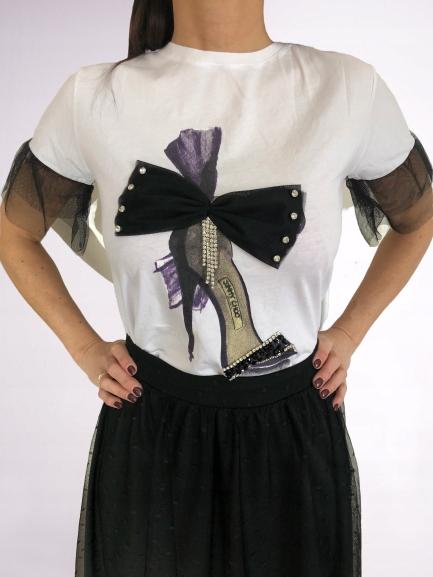 Bluzka T-Shirt biała Szpilka z kokardką, zdobienia