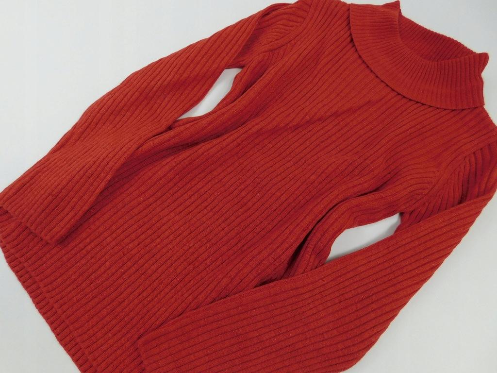 1612k21 TU sweter CZERWONY mieniący _ 140 cm