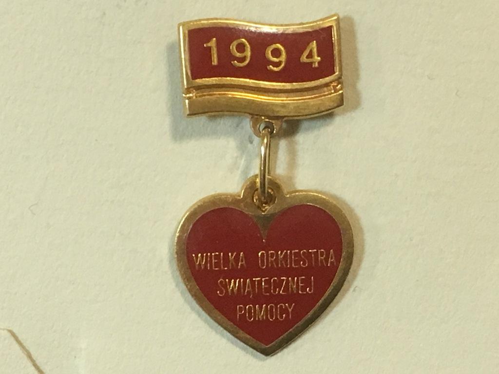Zlote Serduszko Wosp 1994 Certyfikat Unikat 7096538788 Oficjalne Archiwum Allegro