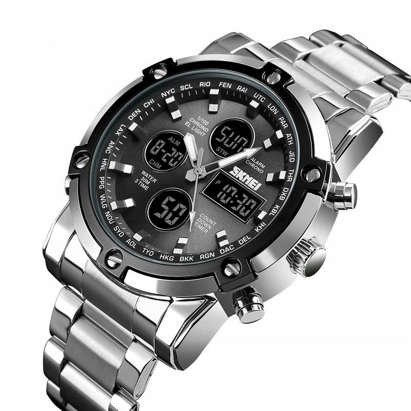 SKMEI 1389 Zegarek męski elektroniczny SREB-CZARNY