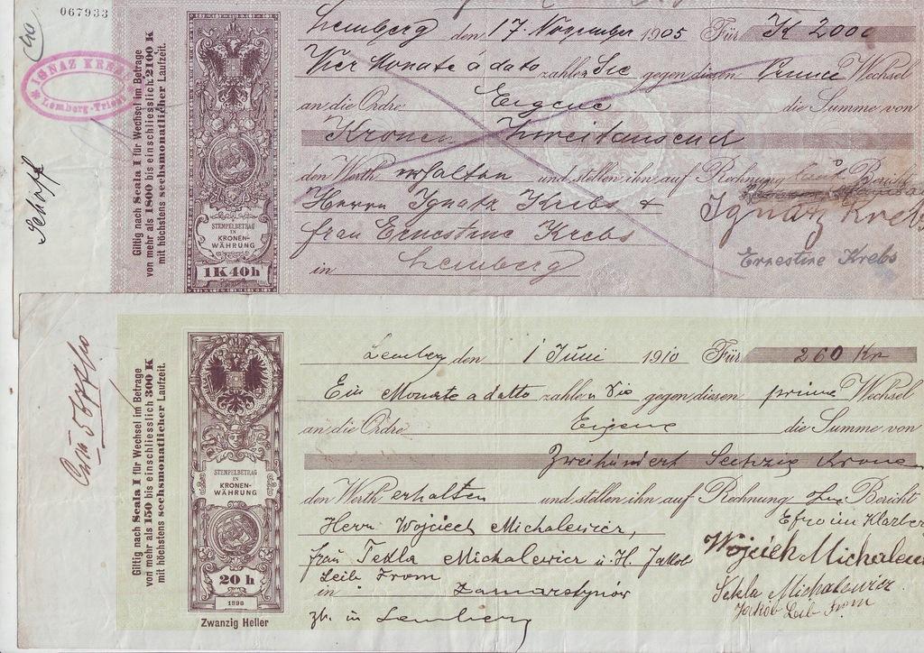 2 weksle Lemberg 1910