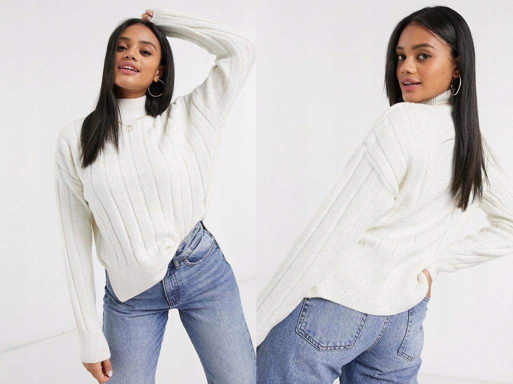 New Look Prążkowany sweter ecru S/36