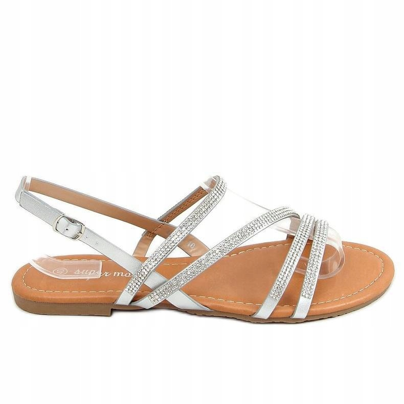 Sandałki z cyrkoniami srebrne na płaskim obcasie41