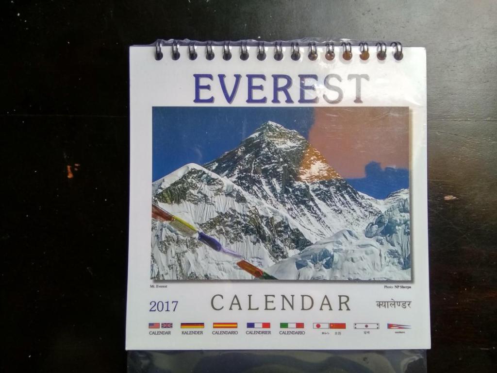 Everest 2017 mały kalendarz na biurko Nepal folia!