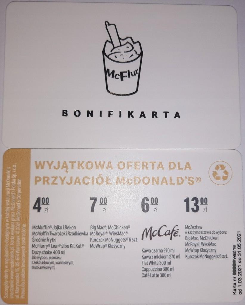 Koperta + bonifikarta McDonalds gratis