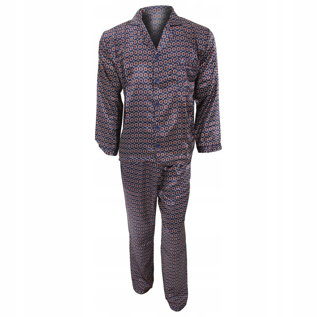 Tradycyjna męska satynowa piżama XXL Granatowy