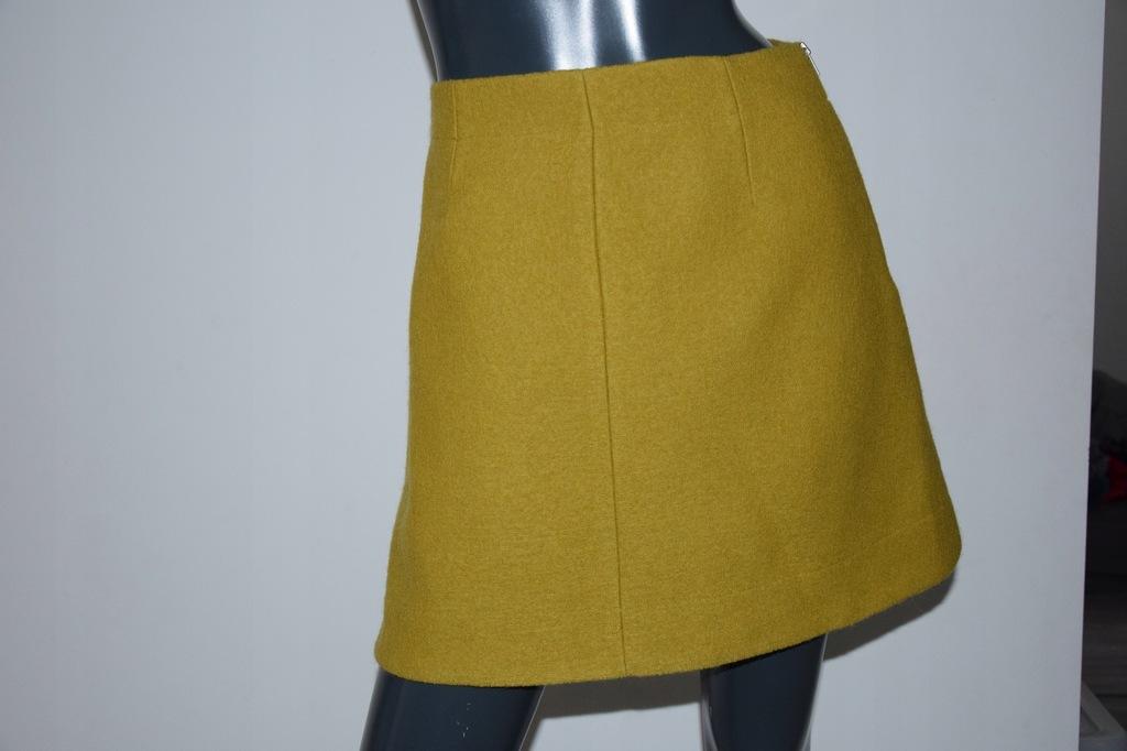 cos musztardowa spódnica A-line 100% wełna r.34/XS