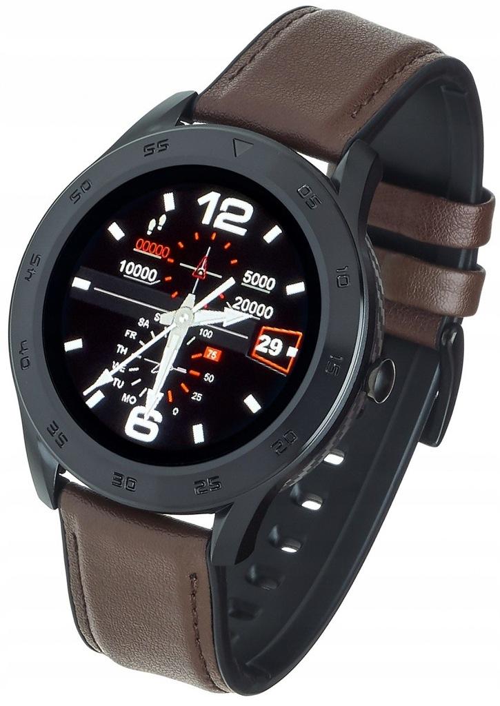 Smartwatch GT22S Ciemny brąz skórzany