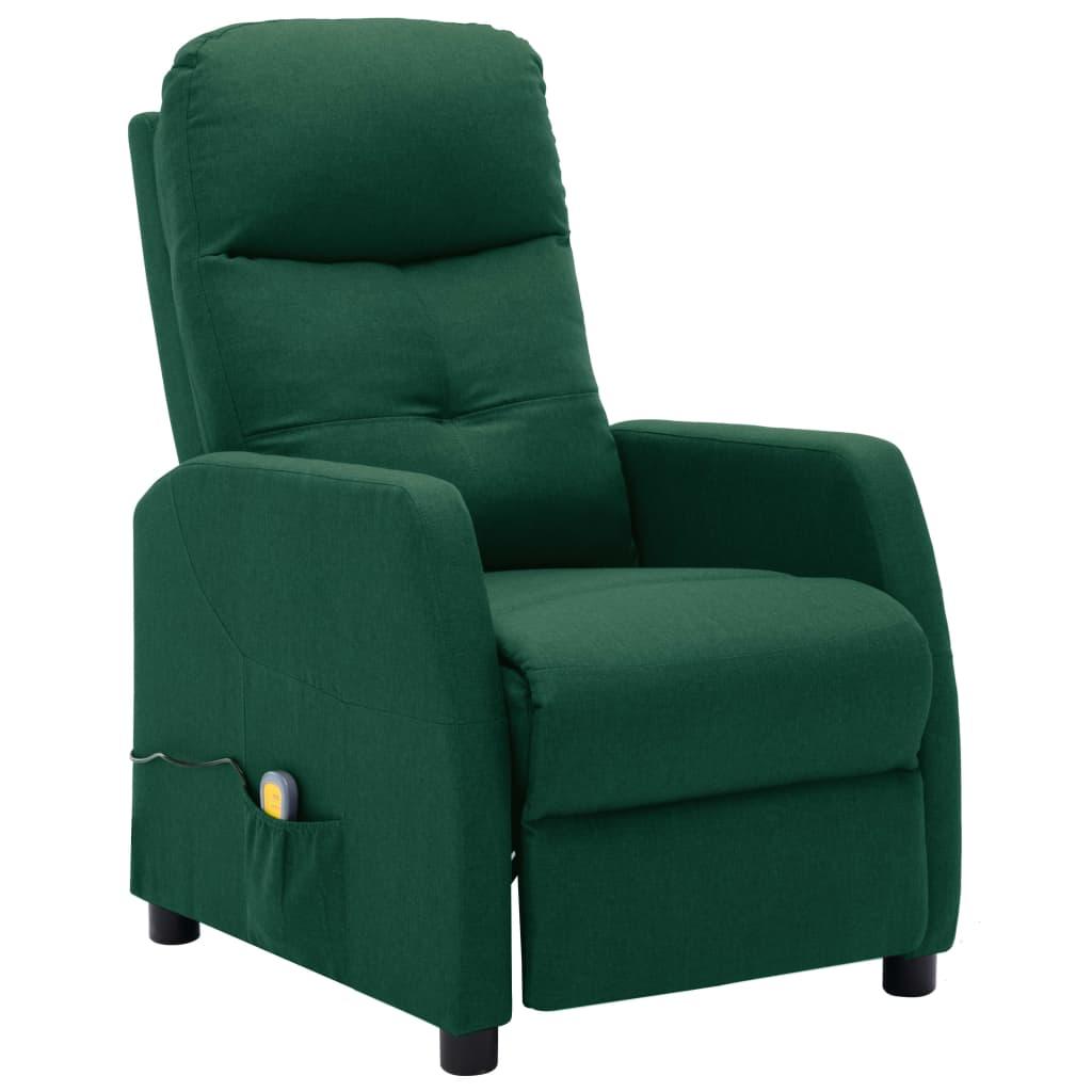 Rozkładany fotel masujący, ciemnozielony, tapicero