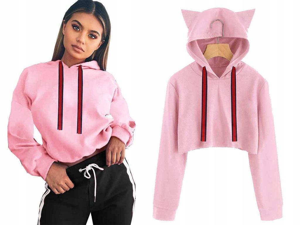 Bluza Cropped Hoodie Crop top Uszy Kot Fun J827
