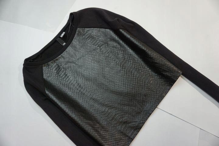 H&M czarna ze skórzanym przodem jak nowa 34