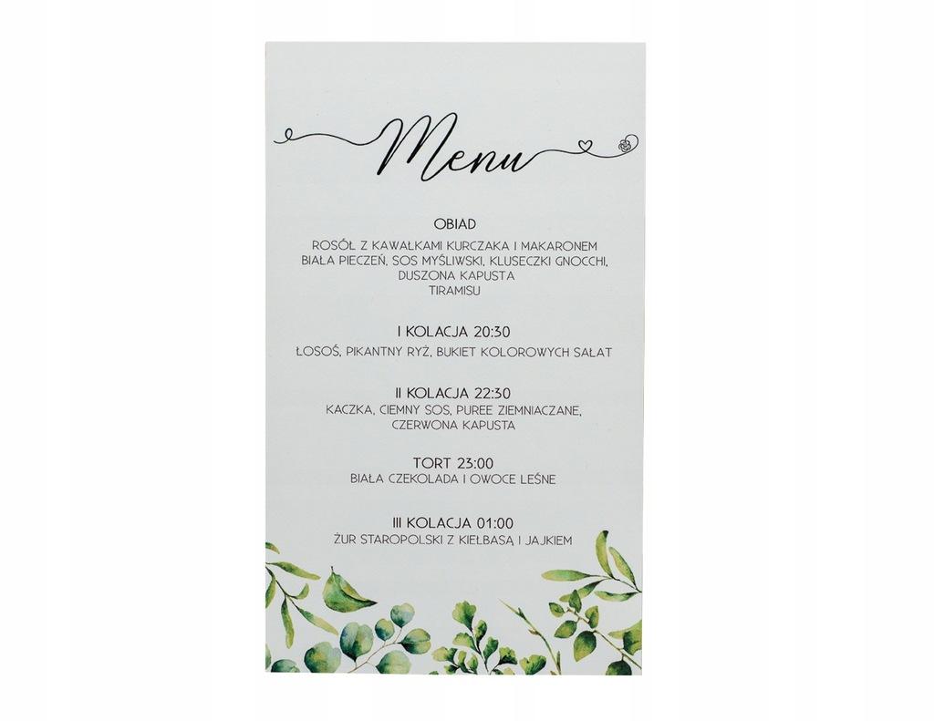 Menu weselne karta dań weselnych botaniczne ślub