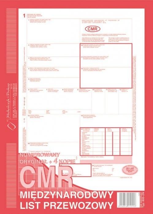 800-2 CMR A4 80kartek 1+4 międzynarodowy list prze