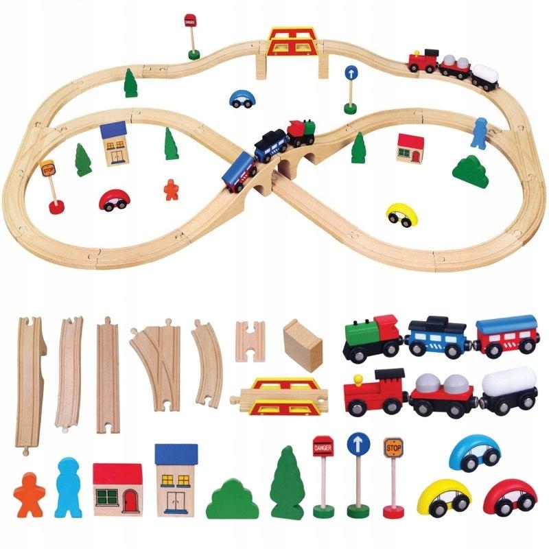 Drewniana Ogromna Stacja kolejowa Pociąg Kolejka