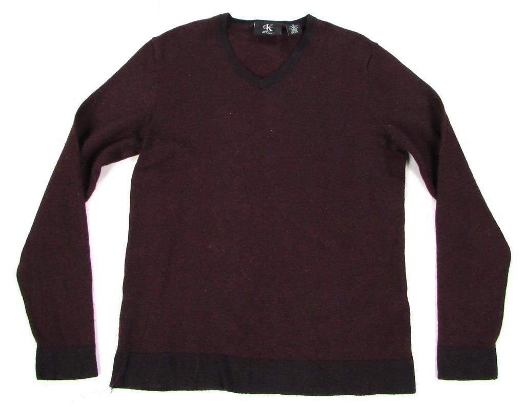* CALVIN KLEIN *_M_Modny, wełniany sweter w serek