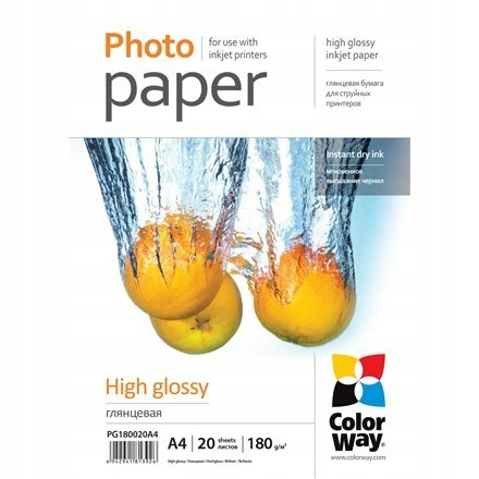 ColorWay Photo Paper 20 pcs. PG180020A4 Glossy, Wh