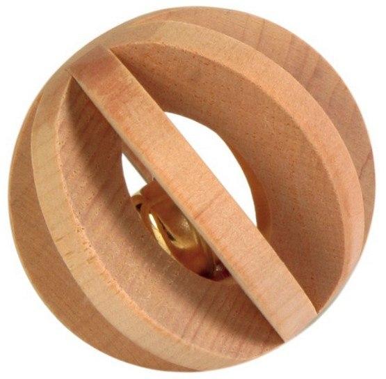 Trixie Drewniana piłka z dzwonkiem dla gryzoni 6cm