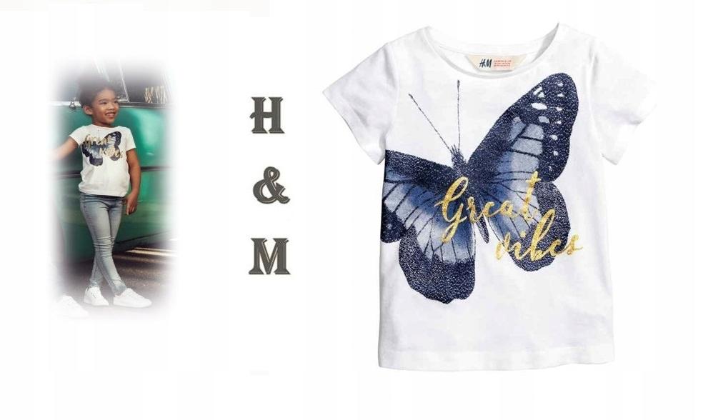 *H&M*CUDNA biała bluzeczka_MOTYL_LATO