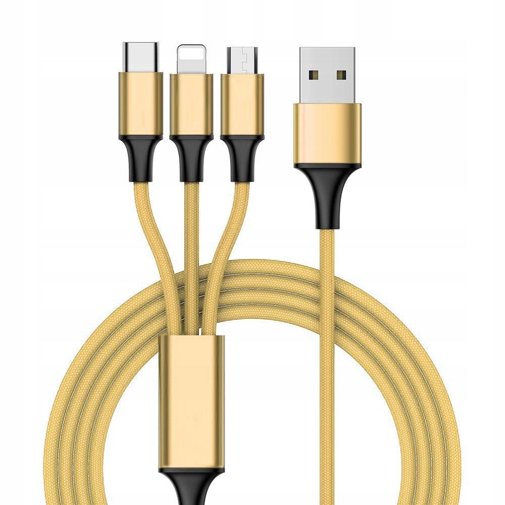 Nylonowy kabel 3w1 USB - USB Typ C 1 m złoty