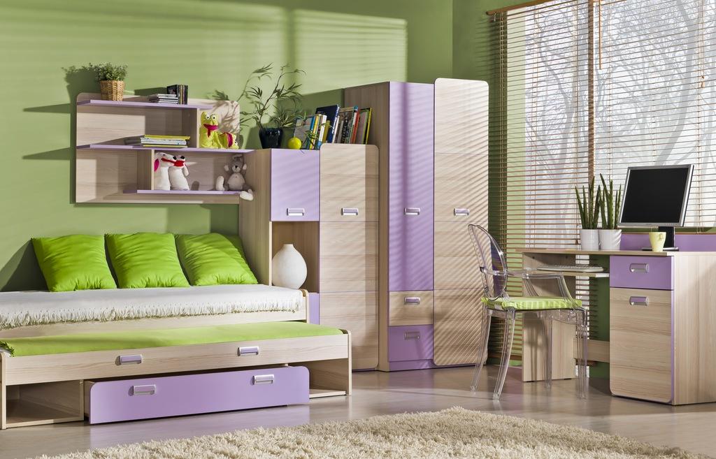 zestaw łóżko podwójne biurko szafa kolor LORENTO 4