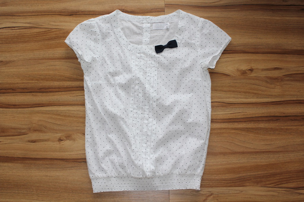 Biała bluzka w granatowe groszki Cool Club r.158