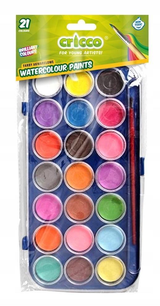 Farby akwarelowe 21 kolorów akwarele wodne