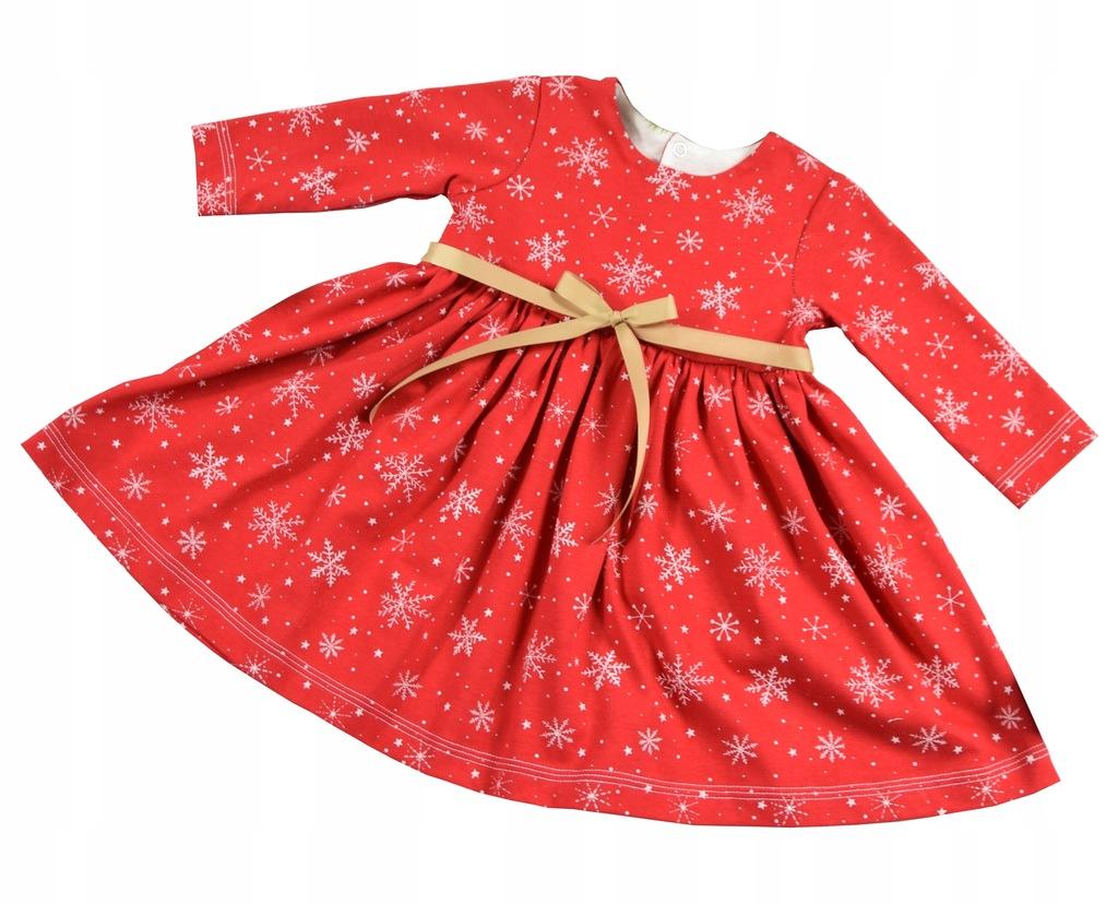 Bawełniana Tunika Sukienka na święta Śnieżynka 68