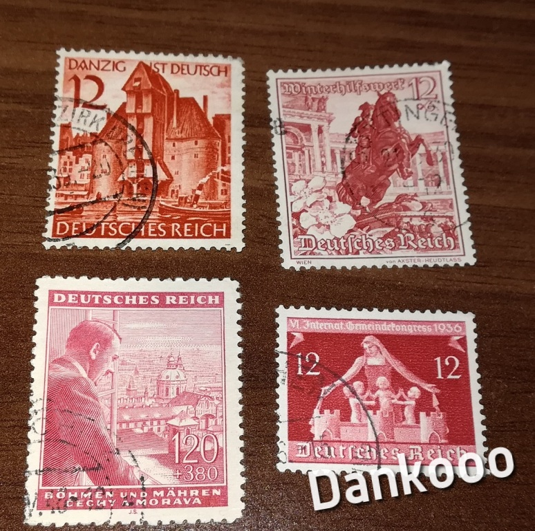 Deutsches Reich zestaw znaczków Czyste 4 szt.