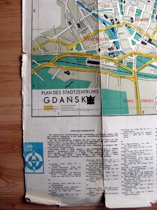 Stary plan miasta Gdańsk 1970 j. niemieckim
