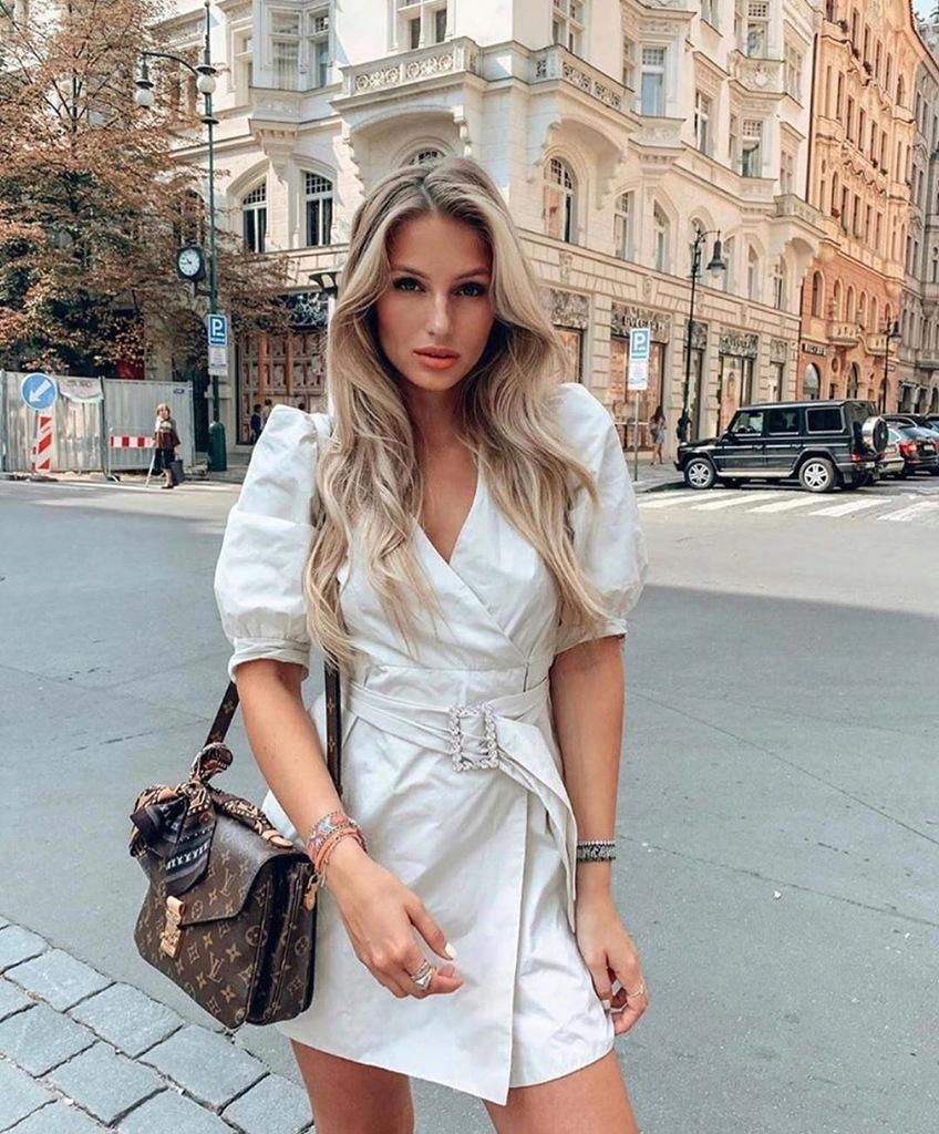 Zara sukienka z paskiem bufiaste rękawy S 36