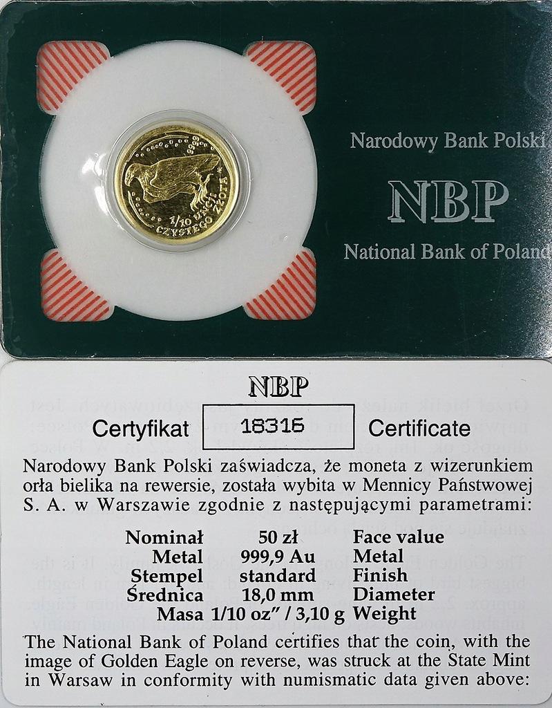 50 zł 2008 Bielik 1/10 Oz. Au 999 - NBP