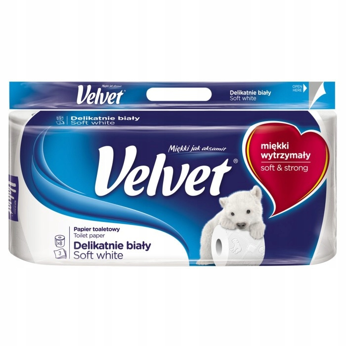 Velvet Papier Toaletowy Delikatnie Biały 8 Rolek
