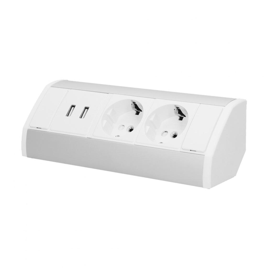 Gniazdo meblowe 2x2P+Z + USB, schuko, biało-srebrn