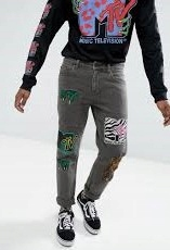 A590 spodnie jeansy slim MTV szare 32/30