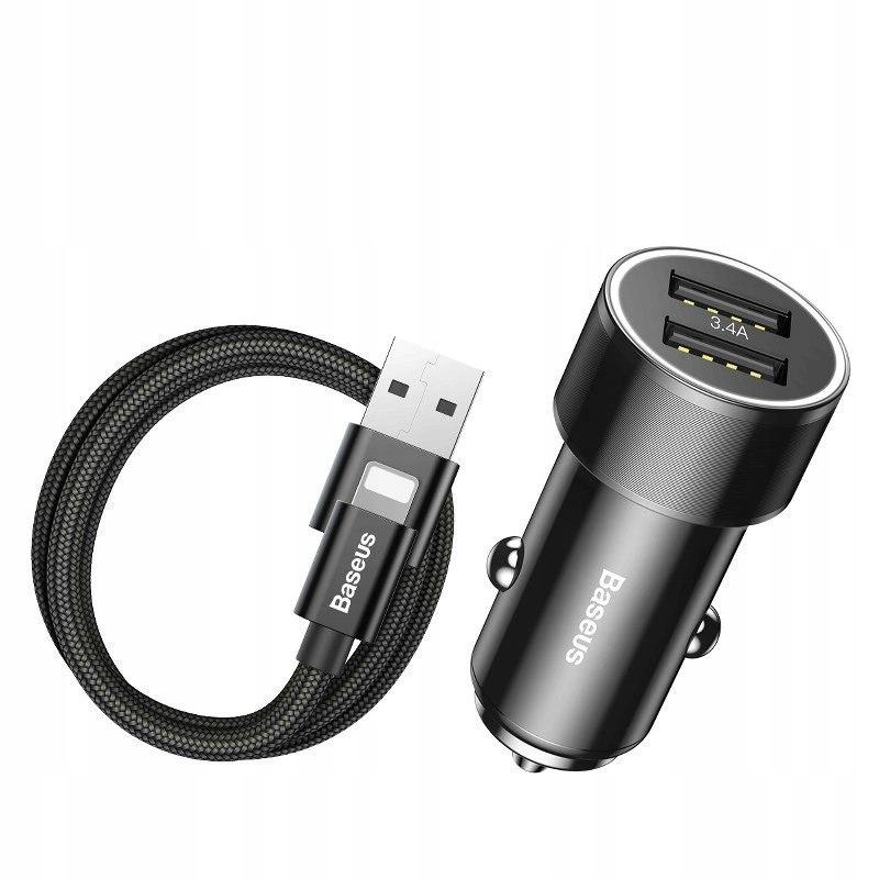 Ładowarka samochodowa + kabel Lightning Baseus Sma