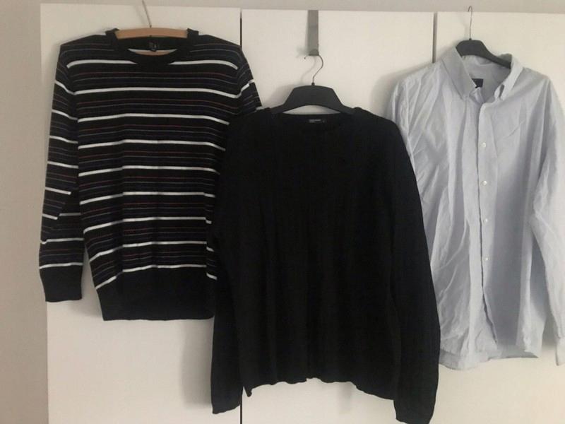Zestaw paka ubrań męskich sweter czarny koszula L