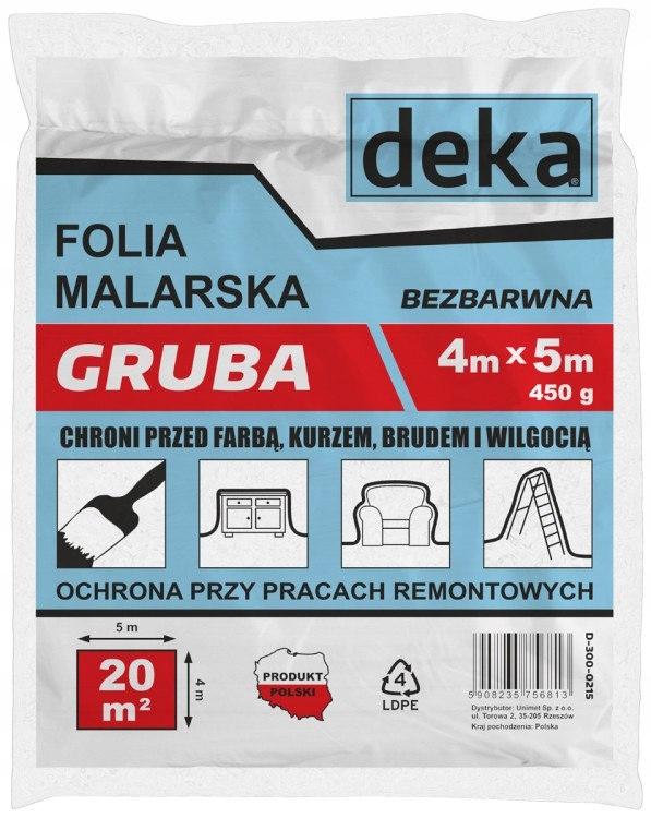 FOLIA MALARSKA GRUBA BEZBARWNA 4*5M 450G