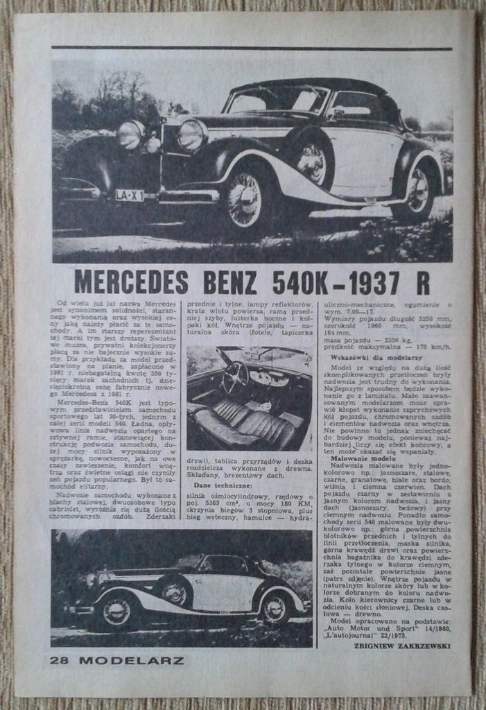 D. MODELARSKA M.B 540 K - 1937 rok