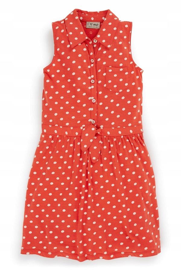 NEXT Śliczna sukienka KORAL _GROSZKI_ retro 98