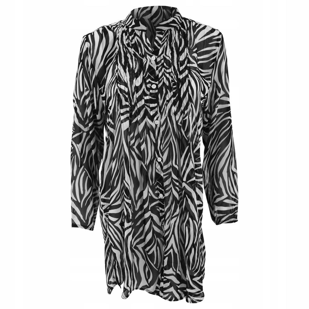 Damska szyfonowa koszula plażowa na M Zebra