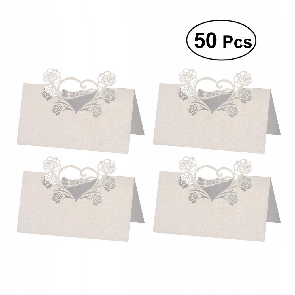 50 sztuk Białe Puste Cięte Karty Stołowe Materiały