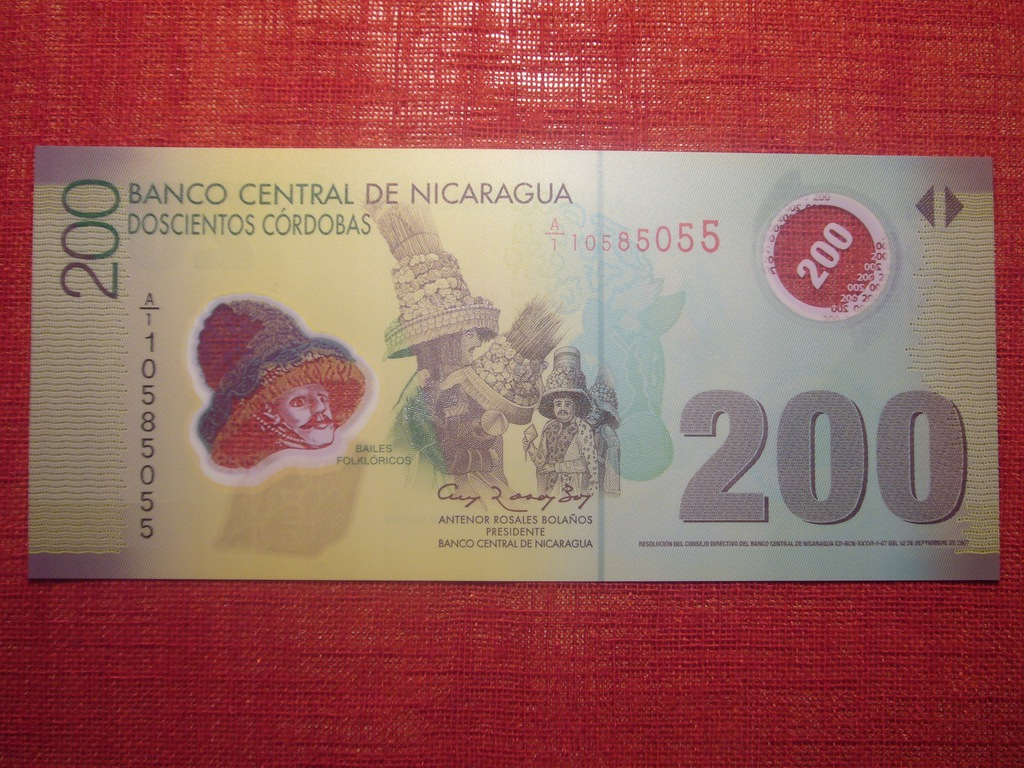 NIKARAGUA 200 CORDOBAS POLIM P-205b 2007 UNC RZADK