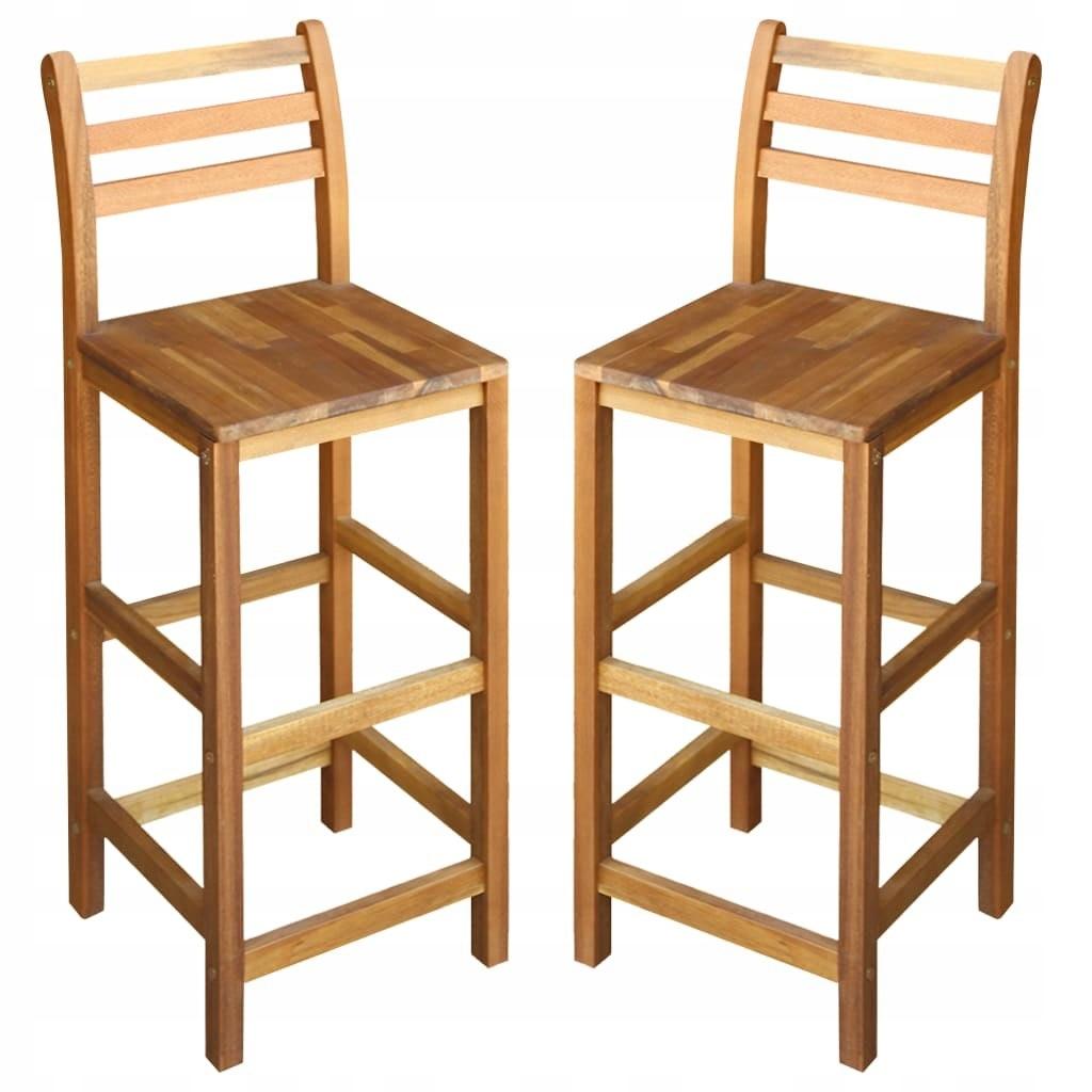 Stołki barowe, 2 szt., lite drewno akacjowe