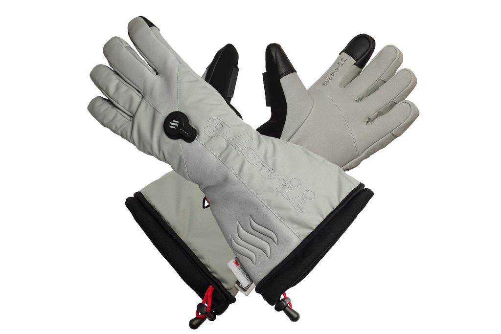 Ogrzewane rękawice narciarskie szare GLOVII - L