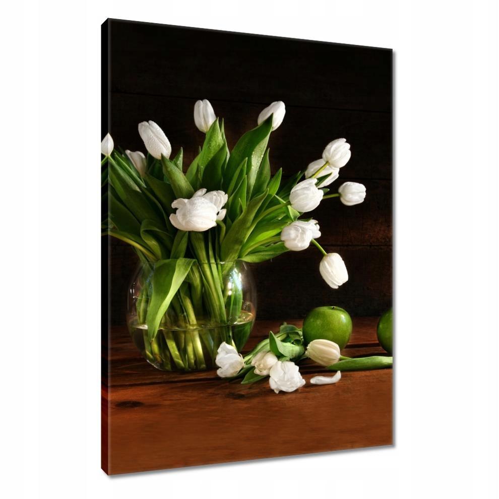 Obrazy 40x60 Białe tulipany Ciemne tlo